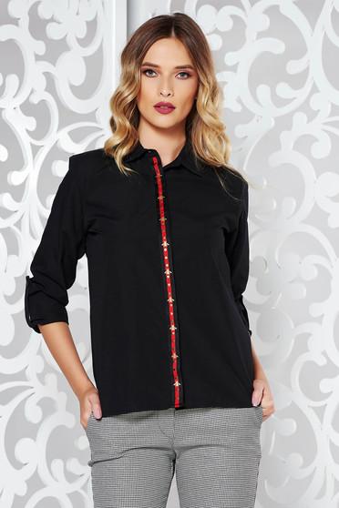 Fekete pamutból készült bő szabású női ing hosszú ujjak