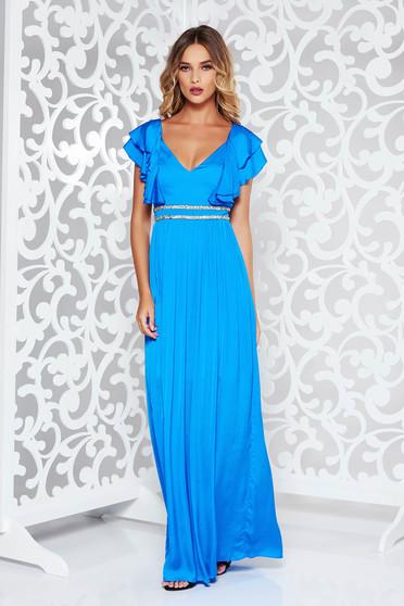 Kék alkalmi hosszú harang ruha szatén anyagból mély dekoltázs