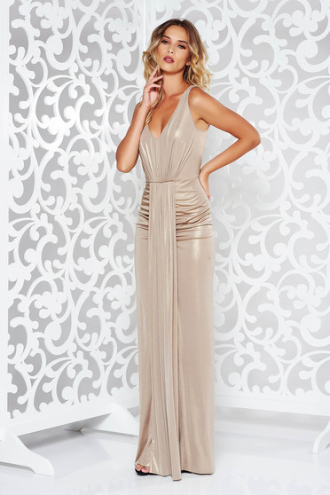 Arany alkalmi hosszú szirén tipusú ruha fényes anyag mély dekoltázs