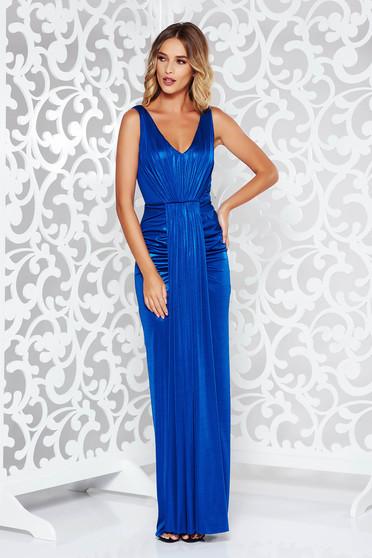 Kék alkalmi hosszú szirén tipusú ruha fényes anyag mély dekoltázs
