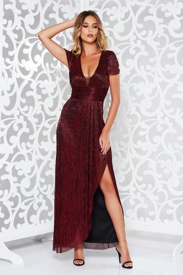 Burgundy alkalmi hosszú harang ruha vékony anyag fémes jelleg
