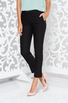 Fekete nadrág irodai kónikus enyhén elasztikus szövet normál derekú zsebes