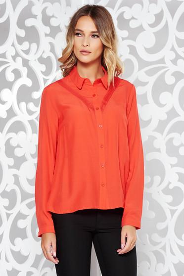 Korall női ing irodai bő szabású lenge anyagból csipke díszítéssel