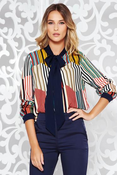 Sötétkék női ing irodai bő szabású lenge anyagból hosszú ujjak b560106277