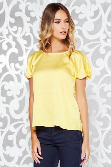 Sárga elegáns bő szabású női blúz szatén anyagból rövid ujjú