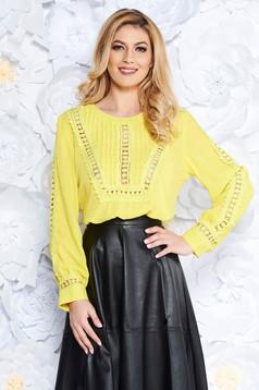 Sárga casual bő szabású női blúz fátyol csipke díszítéssel