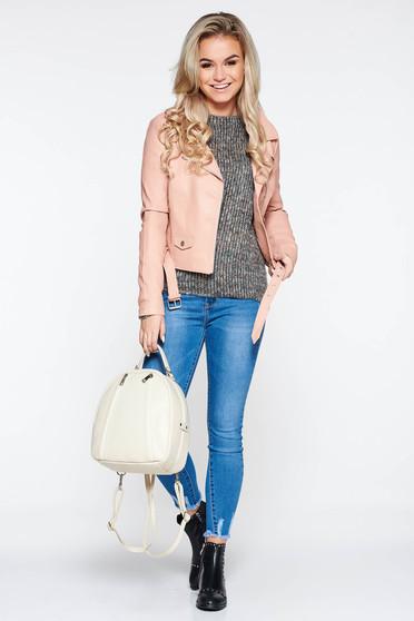 Rózsaszínű dzseki casual műbőr belső béléssel zsebes