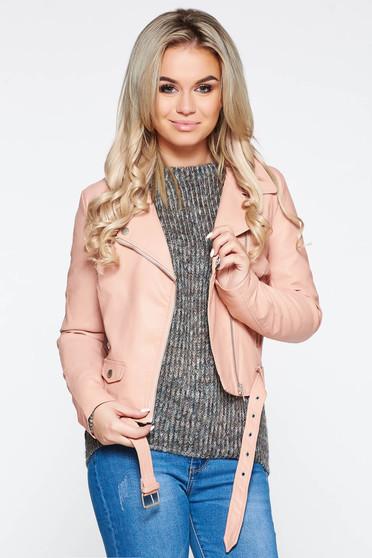 Rózsaszínű casual dzseki műbőr belső béléssel zsebes