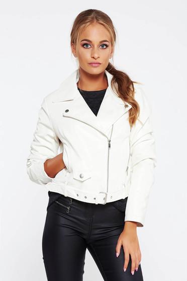 Fehér dzseki casual műbőr belső béléssel zsebes