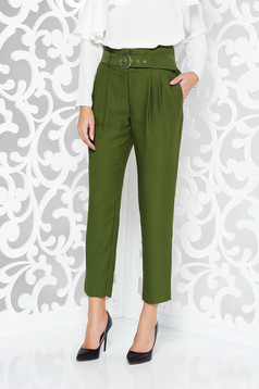 Sötétzöld elegáns magas derekú nadrág nem rugalmas anyag öv típusú kiegészítővel