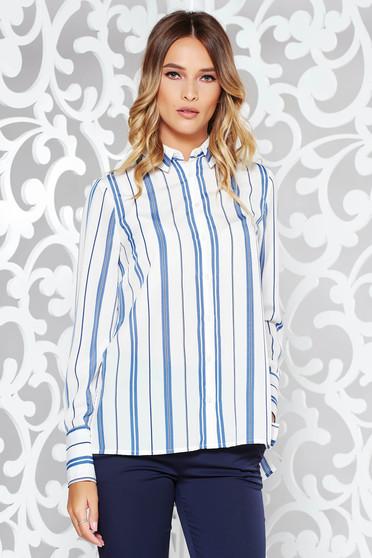 Kék irodai bő szabású női ing hosszú ujjú fátyol anyag csíkos b47152636e