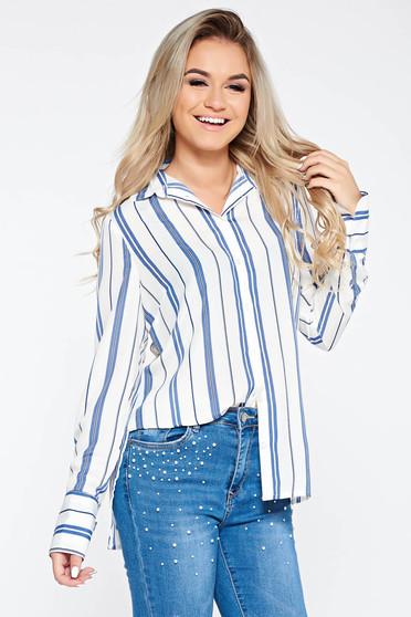 Kék irodai bő szabású női ing hosszú ujjú fátyol anyag csíkos
