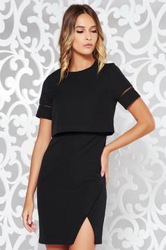 Fekete elegáns ruha enyhén rugalmas anyag belső béléssel szűk szabás