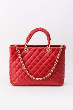 Piros irodai táska hosszú lánc típusú pánt valamint rövid