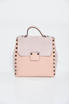 Rózsaszínű casual hátizsákok fémes szegecsekkel