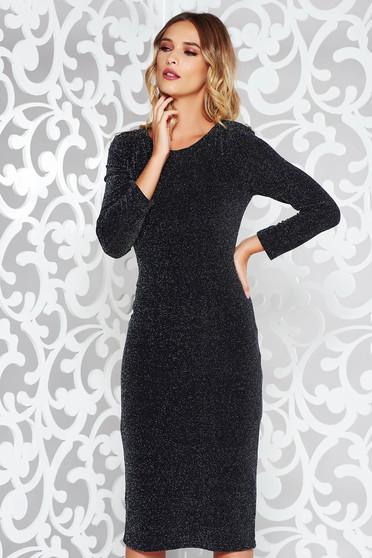 Fekete StarShinerS ruha alkalmi rugalmas anyag belső béléssel szűk szabás