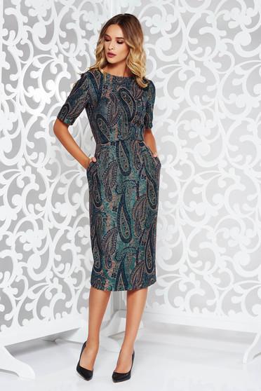 Zöld StarShinerS ruha elegáns nem elasztikus pamut karcsusított szabás zsebes