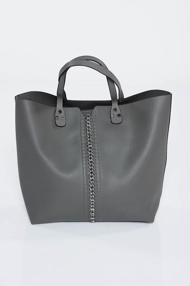 Sötétszürke táska irodai műbőr