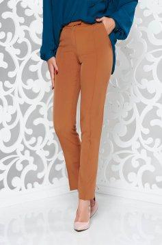Barna StarShinerS irodai nadrág egyenes szabás enyhén elasztikus szövet