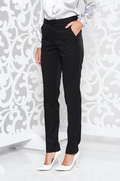 Fekete StarShinerS irodai nadrág egyenes szabás enyhén elasztikus szövet