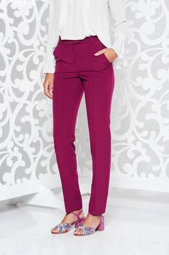 Lila StarShinerS irodai nadrág egyenes szabás enyhén elasztikus szövet