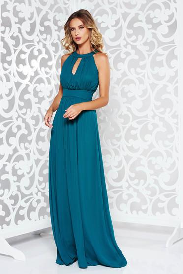 Sötétzöld LaDonna ruha alkalmi harang fátyol belső béléssel szivacsos mellrész