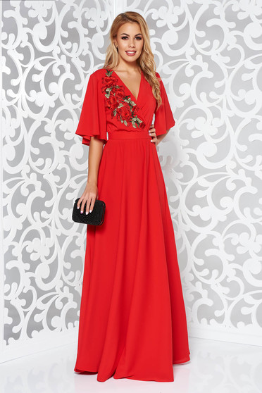 Piros StarShinerS alkalmi ruha fátyol belső béléssel derékban rugalmas bő ujjú