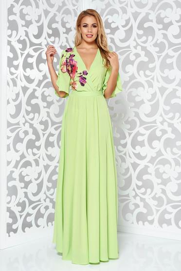Zöld StarShinerS alkalmi ruha fátyol belső béléssel derékban rugalmas bő ujjú