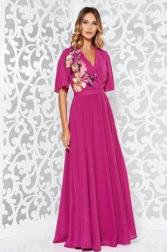 Pink StarShinerS hosszú ujjú alkalmi ruha strassz köves díszítéssel 19cb558035