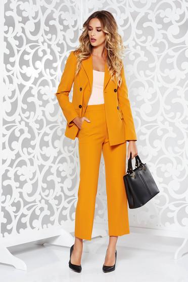 Mustar StarShinerS női kosztüm irodai nem rugalmas anyag karcsusított szabás belső béléssel zsebes