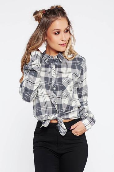 Szürke casual hosszú ujjú bő szabású női ing nem elasztikus pamut kockás