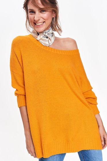 Sárga Top Secret pulóver casual bő szabású kötött anyag hosszú ujjú