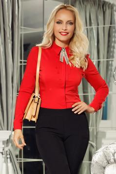 Piros Fofy női ing irodai szűk szabás pamutból készült vékony anyag bross kiegészítővel