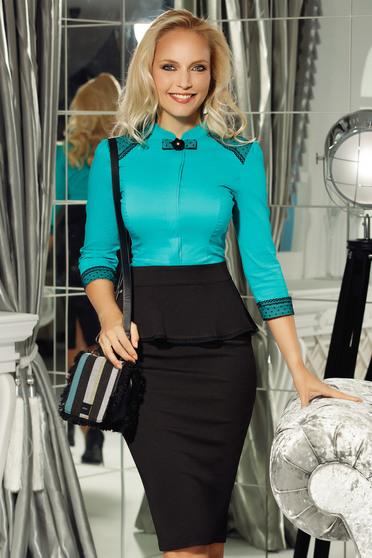 Türkiz Fofy női ing irodai enyhén elasztikus pamut szűk szabás csipke díszítéssel