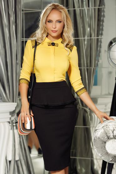 Sárga Fofy női ing irodai enyhén elasztikus pamut szűk szabás csipke díszítéssel