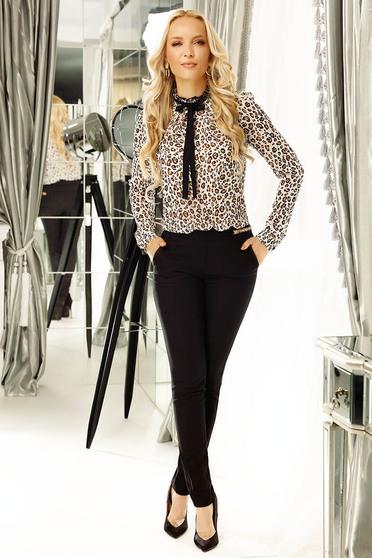 Fekete Fofy irodai kónikus nadrág enyhén elasztikus pamut normál derekú zsebes