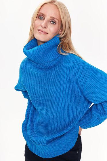 Kék Top Secret pulóver casual bő szabású vastag anyag kötött magasnyakú