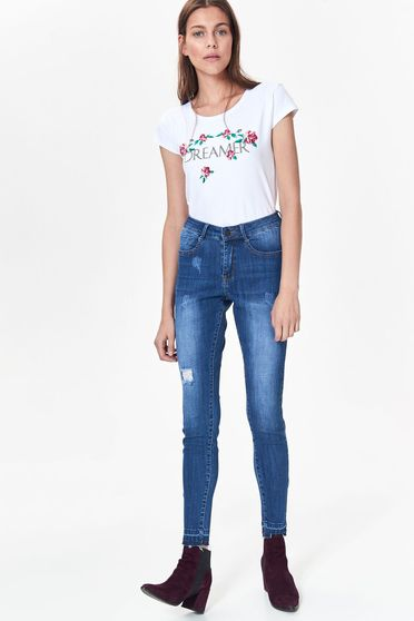 Fehér Top Secret póló casual nem elasztikus pamut bő szabás virágmintás díszítéssel