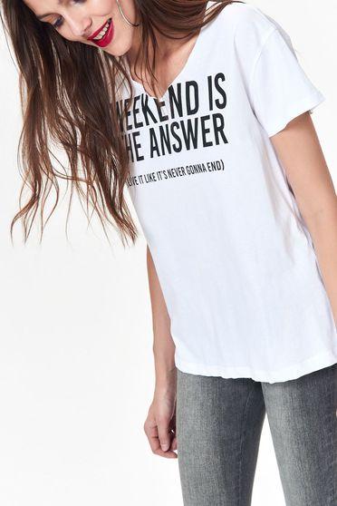 Fehér Top Secret póló casual nem elasztikus pamut bő szabás nyomtatott mintával feliratos