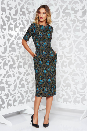 Kék StarShinerS elegáns ruha rövid ujjú zsebes