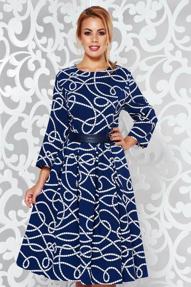 Kék elegáns midi harang ruha enyhén elasztikus pamut grafikai díszítéssel övvel ellátva