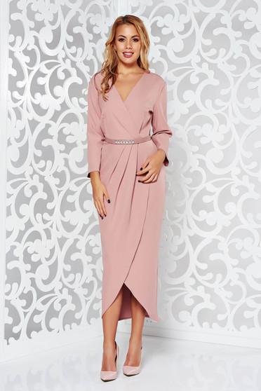 Rózsaszínű elegáns dekoltált 3/4-es ujjú ruha enyhén rugalmas szövet öv típusú kiegészítővel