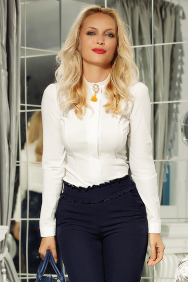 Fehér Fofy női ing irodai enyhén elasztikus pamut szűk szabás bross kiegészítővel
