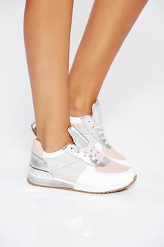 Pink casual sport cipő fűzővel köthető meg lapos talpú műbőr