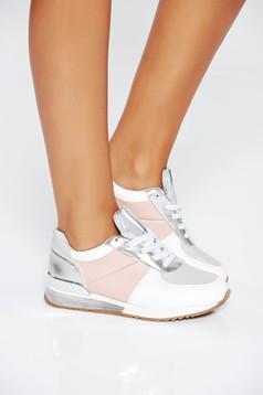 Szürke casual sport cipő fűzővel köthető meg lapos talpú műbőr