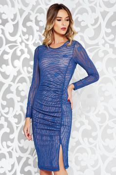 Kék StarShinerS party ceruza ruha áttetsző anyag nyomtatott mintával belső béléssel