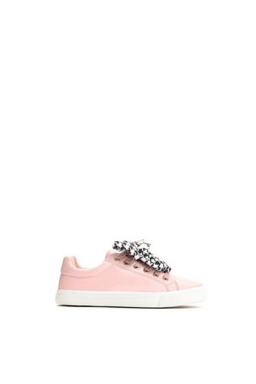 Pink casual sport cipő lapos talpú műbőr fűzővel köthető meg 3d7bfbd688