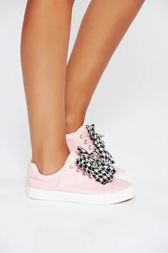 Pink casual sport cipő lapos talpú műbőr fűzővel köthető meg