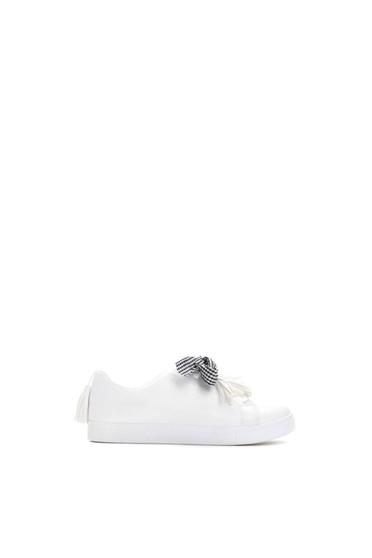 Fehér sport cipő casual fűzővel köthető meg lapos talpú műbőr 78344765cf