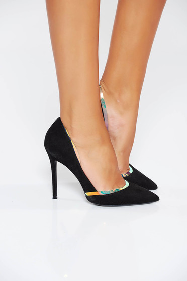 Fekete cipő elegáns műbőr fémes kiegészítő
